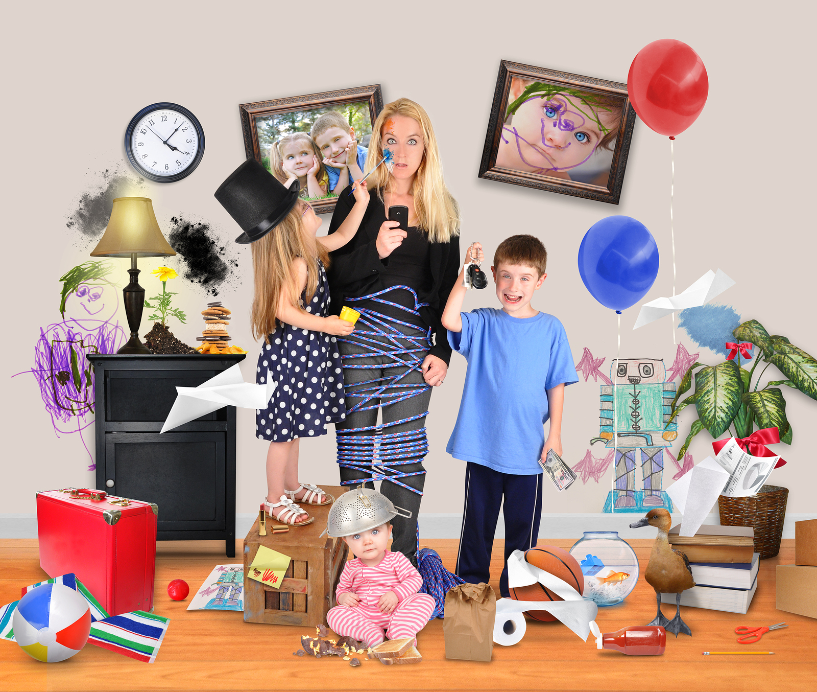 Stressed-Mother-With-Wild-Chil-68630782.jpg