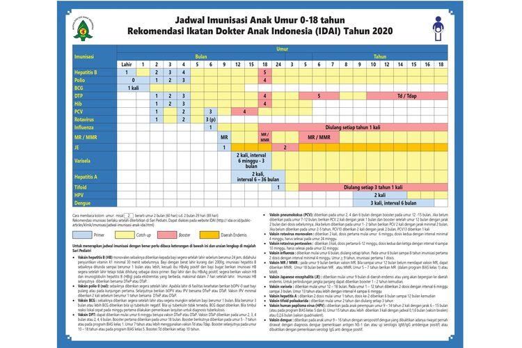 jadwal imunisasi anak IDAI 2020